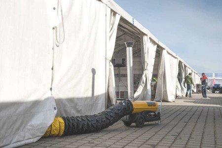 Nagrzewnica olejowa Master BV 290 E + termostat TH5 10-metrowy + przewody giętkie nylonowe 7,6 m z torbą + zestaw podłączeniowy